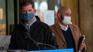 Boston Mayor Mary Walsh wears a mask at a news briefing Friday, May 1, 2020.