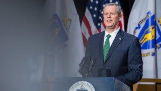 Gov. Charlie Baker speaks at a Massachusetts State House news conference