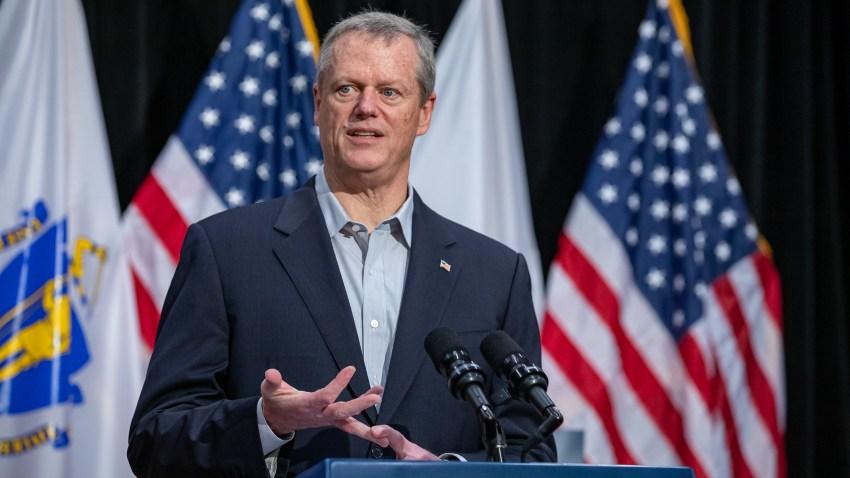 Gov. Charlie Baker speaks at a coronavirus briefing at the Massachusetts State House