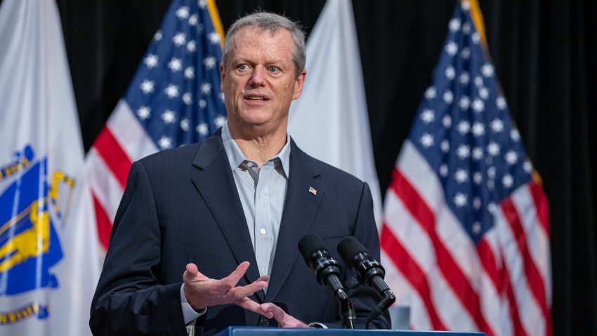 Gov. Charlie Baker speaks at a coronavirus briefing at the Massachusetts State House