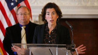 Gov. Gina Raimondo gives an update on the coronavirus during a news conference in the State Room of the Rhode Island State House in Providence, R.I, March 22, 2020.