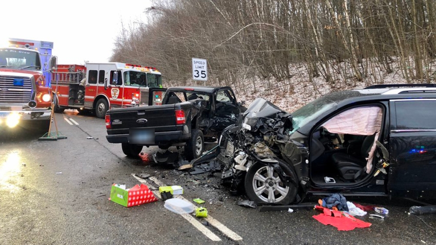 Car crash on Route 4 in Burlington