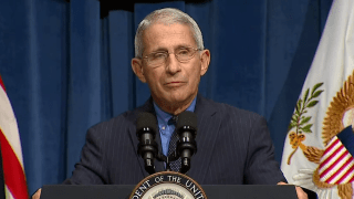 Dr. Anthony Fauci speaks pout against the coronavirus surge at press conference.