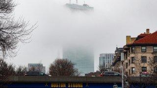 Boston's Back Bay in fog