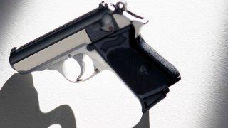 7578054Handgun on white background, backlit and casting shadow0 generic handgun gun