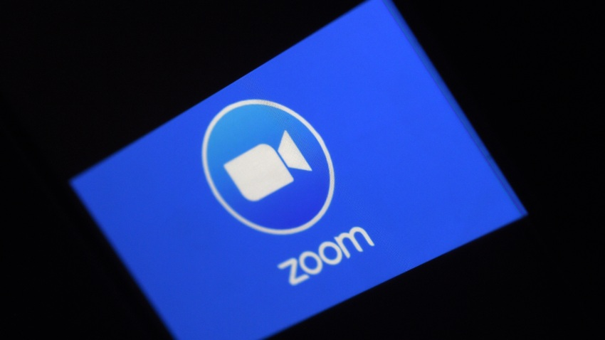In this March 30, 2020, file photo, a Zoom App logo is displayed on a smartphone in Arlington, Virginia.