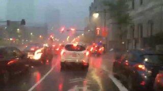 Heavy rain in Boston near Northeastern University