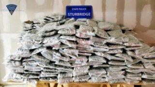 Marijuana Pile found in minivan pulled over in Sturbridge Massachusetts