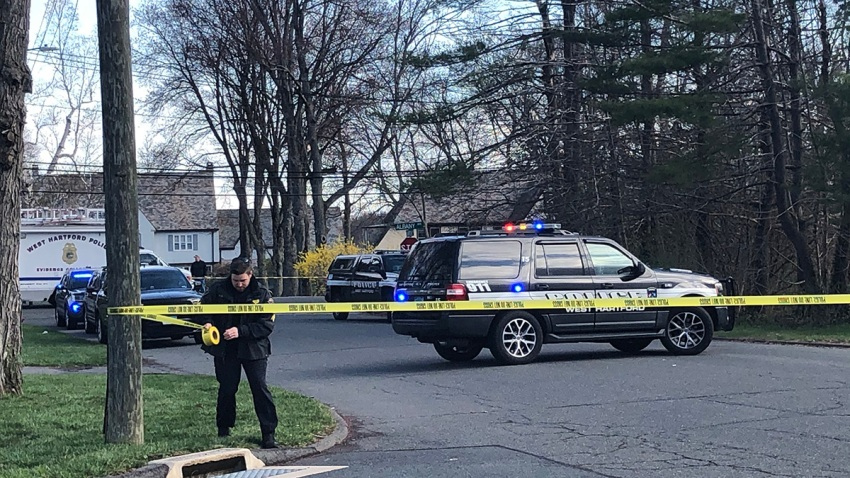 Police at Albany Avenue in West Hartford