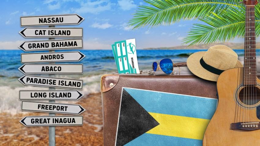 Foto conceptual con nombre de islas de las Bahamas y su bandera.