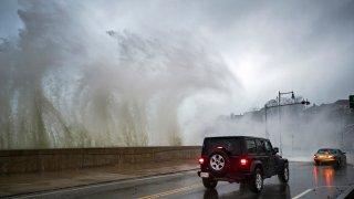 Waves hitting Revere Winthrop Line