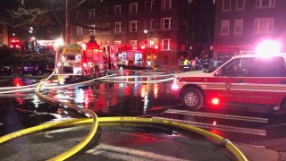 firefighters at an apartment building in Hartford