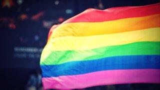 Rainbow flag waves