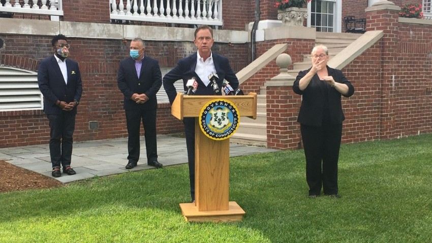 governor Ned Lamont outside the governor's residence in Hartford