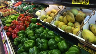 Produce in a grocery store