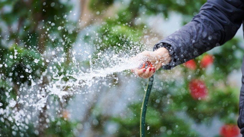 Person using a garden hose