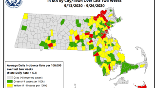 Mass. COVID hot spot map