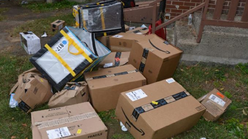 Packages from a stolen Amazon truck in Hartford