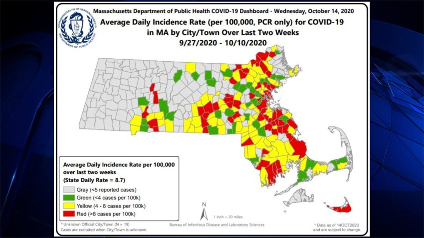 Massachusetts communities in the highest risk level for COVID-19 in the latest map.