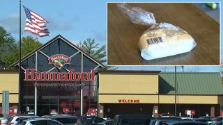 Pizza dough is seen inset in a photo of a Maine Hannaford supermarket, where someone allegedly put razor blades in pizza dough.