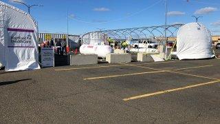 Drive-through coronavirus testing at Bradley Airport