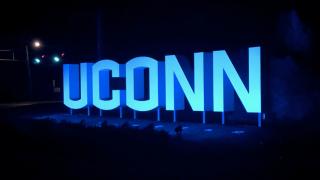 Uconn logo lit up