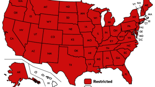 The map showing high-risk states for travel to Massachusetts