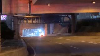 A car on fire at Boston Logan International Airport.