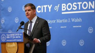 Mayor Marty Walsh holds a coronavirus news conference in Boston