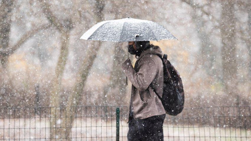Man with umbrella walking during snowfall