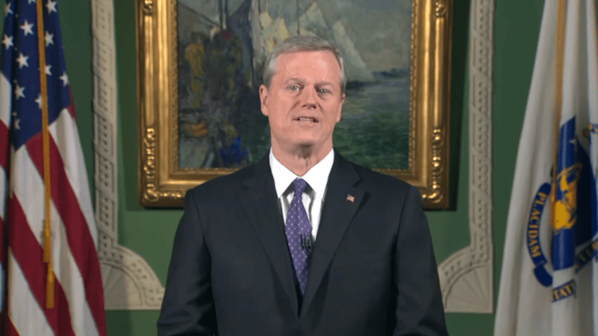 Gov. Charlie Baker gives the State of the Commonwealth address from the Massachusetts State House