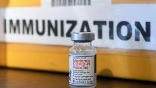 A Moderna COVID-19 vaccine vial (Photo by Paul Hennessy/NurPhoto via Getty Images)