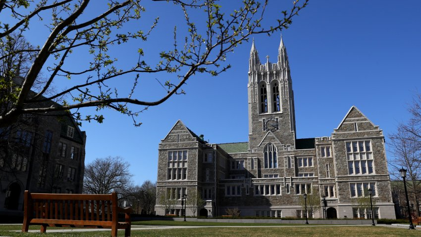 This March 31, 2020, file photo shows the campus of Boston College in Chestnut Hill, Massachusetts.