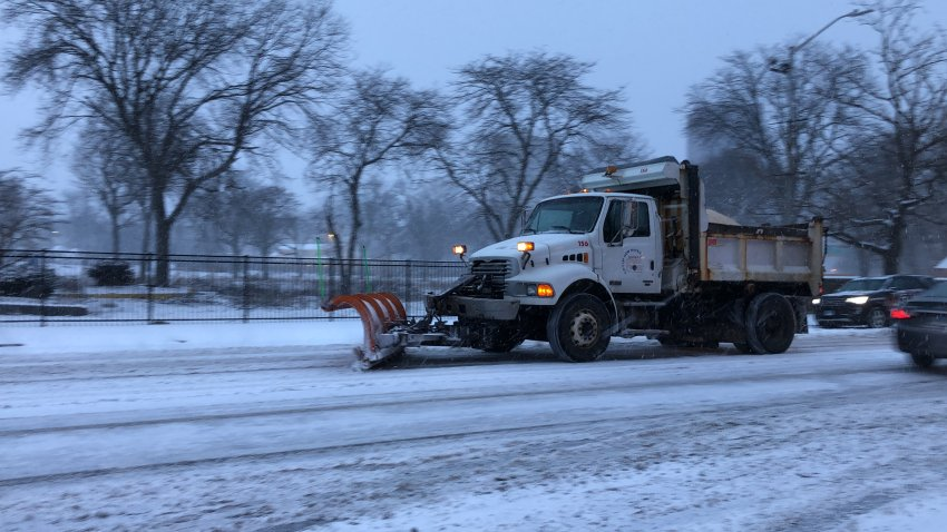 Snow plow in New Haven