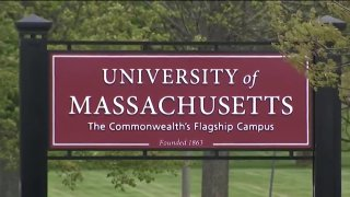 A sign outside the University of Massachusetts at Amherst, or UMass Amherst