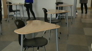 A look at a San Diego Unified School District's classroom following social distancing guidelines.