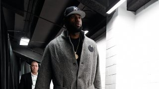 This Jan. 20, 2020, file photo shows LeBron James of the Los Angeles Lakers arrive at TD Garden in Boston before a game against the Boston Celtics.