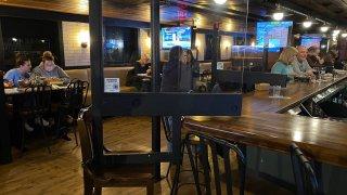 Restaurant with plexiglass dividers
