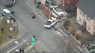 A crashed Dodge Ram pickup truck in Lowell, Massachusetts
