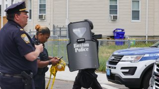 Boston police investigating a shooting in Dorchester on Friday, May 28, 2021.