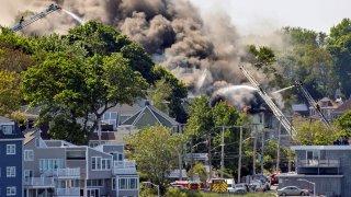 A fire burns in Revere, Massachusetts