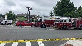 Firetrucks and other emergency vehicles on Pratt Street in Meriden.