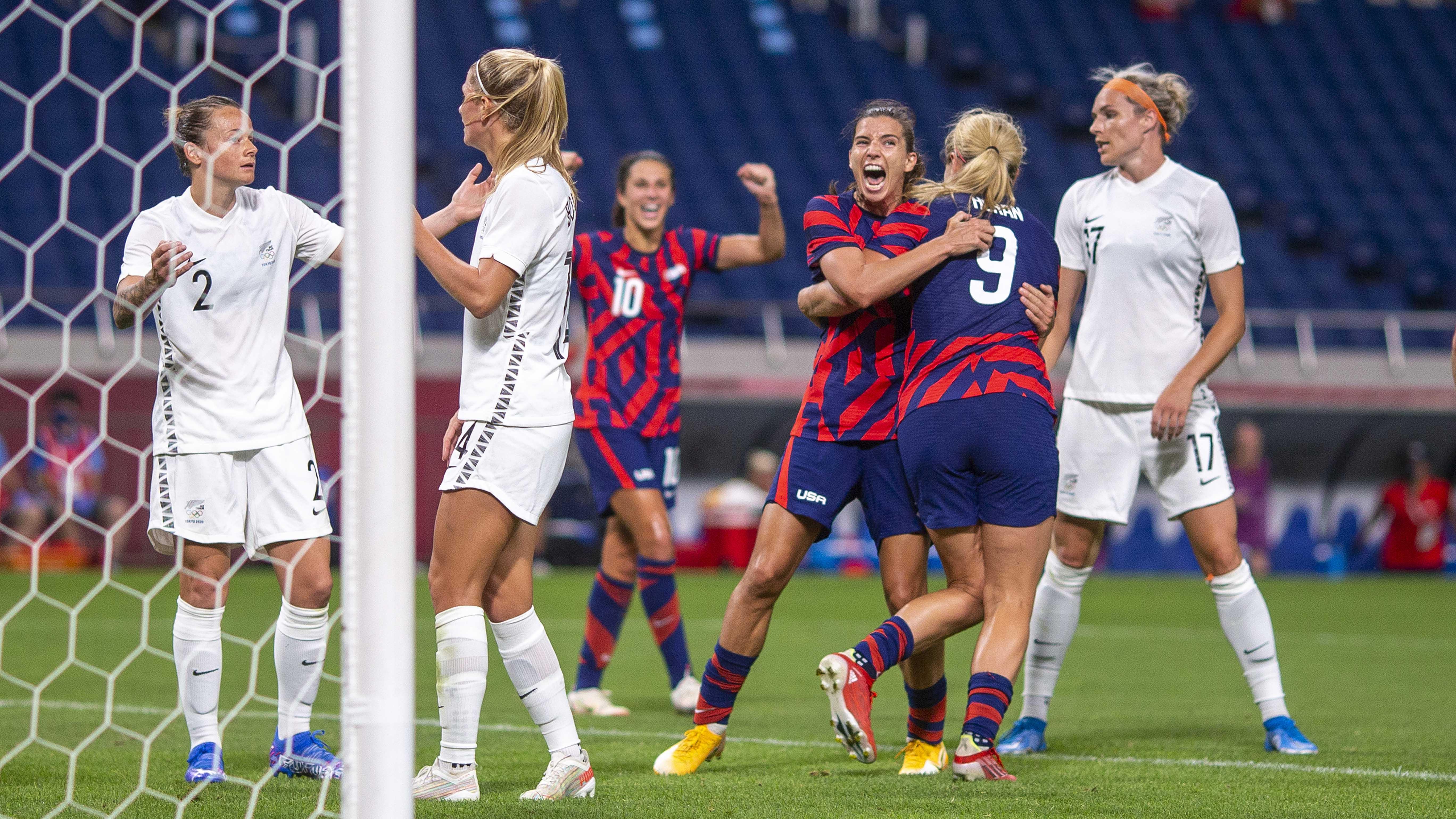 Con goleada ante Nueva Zelanda: selección femenina de fútbol de EEUU se recupera de derrota inicial