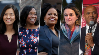 From left: Boston mayoral candidates city council members Michelle Wu, Andrea Campbell, Acting Mayor Kim Janey, city council member Annissa Essaibi-George and former Economic Development Chief John Barros.
