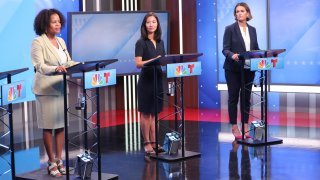 From left: Boston Mayor Kim Janey, City Councilor Michelle Wu and City Councilor Annissa Essaibi George at the first televised mayoral debate ahead of Boston's preliminary election.