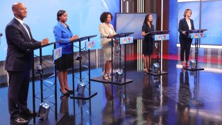 The five candidates running to be mayor of Boston at a debate hosted by NBC10 Boston on Wednesday, Sept. 8, 2021. From left: John Barros, Andrea Campbell, Kim Janey, Michelle Wu and Annissa Essaibi George.