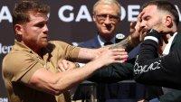 """""""Canelo"""" Álvarez y Caleb Plant se agarran a golpes en plena conferencia de prensa"""