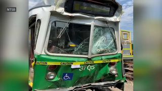 An image of a crashed MBTA Green Line trolley on July 30, 2021.