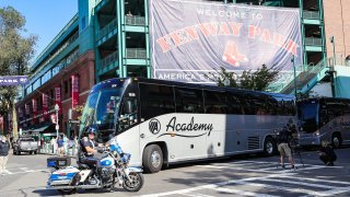 The Boston Red Sox depart Fenway Park in Boston en route to Houston for the start of the 2021 ALCS against the Astros.