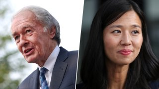 Sen. Ed Markey (left), Boston Mayoral Candidate Michelle Wu